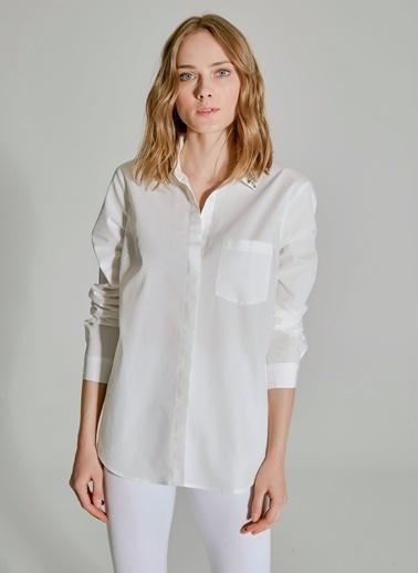 People By Fabrika Yakası İşlemeli Poplin Gömlek Beyaz